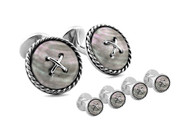 Shirt Studs Cufflink Set Cable Button Double Ended White MOP