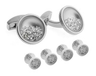 Shirt Studs Cufflink Set Diamond Dust White Diamond (5.4ct)