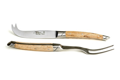 Cheese Set knife and fork Le Thiers prestige range, hand forged birch matte finish