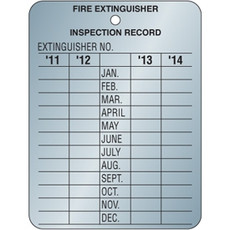 Fire Exinguisher Inspection Tag, Metal, BECMIT