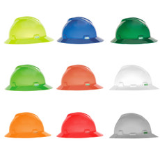 MSA Full Brim, Hat Style Hard Hat (Fas-Trac Ratchet Suspension)