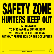 Safety Zone 500 Feet Posted Sign - Yellow Plastic (201SAFYP)