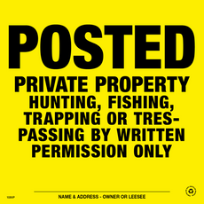 Posted Written Permission Posted Signs - Yellow Plastic (142PWPYP)