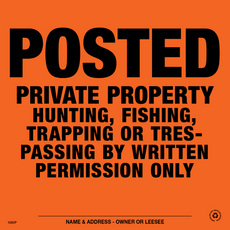 Posted Written Permission Only Posted Signs - Orange Aluminum (142PWPOA)