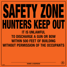 Safety Zone 500 Feet Posted Sign - Orange Aluminum