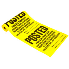 Tyvek Posted Signs Roll of 100 - Yellow Tyvek - Private Property (TSR-100)