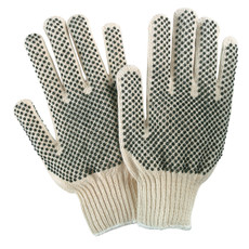 Memphis Two Sided PVC Dotted String Knit Gloves (12 per Box), 9668-L