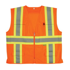 2W International Class II Safety Vest, Hi-Viz Orange, M7038C-2