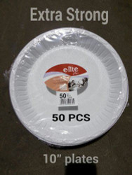 "10"" Extra Strong White Disposable Plate (50 Pieces)"