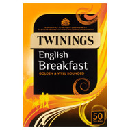 Twinings English Breakfast Tea Bags - 50's - Pack of 2 (50's x 2)