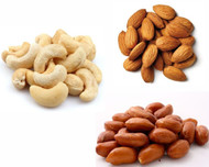 Jalpur Millers Nuts Combo Pack - Red Skin Peanuts 1kg - Cashew Nuts 1kg - Almonds 1kg (3 Pack)