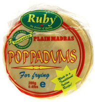 Ruby - Plain Madras Poppadums Restuarant Style - 200g (Pack of 4)