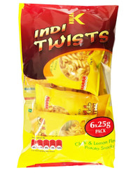 Kolak - Indi Twists 6 x Chilli & Lemon Potato Snacks - 25g (Pack of 6)