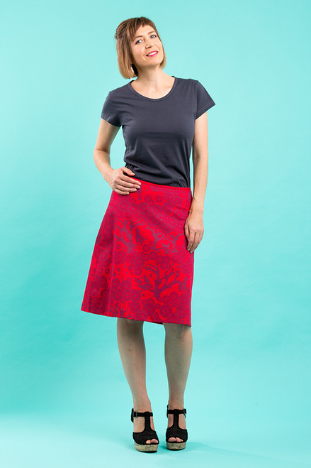 A-line Skirt - Mikko berry/red (short)