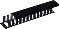 """19"""" 2RU Finger Cable Management Bar with protective cap Black 70mm Deep"""
