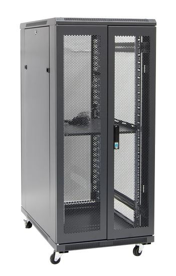 27RU network server rack cabinet 1000mm deep - rear angled