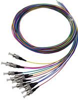 2M ST Pigtail OM1 12 Pack Colour Coded, 900um Multimode Fibre