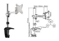 Tilt/Swivel LCD Desk Mount 360 deg rotation. Arm reach: 266mm