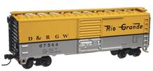 Atlas O (trainman) Rio Grande silver/yellow 40' Steel Box car, 3 rail or 2 rail