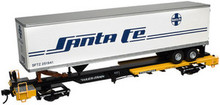 Atlas O TTX front runner intermodal skeleton flat car with Santa Fe trailer, 2 rail