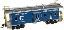 Atlas O Chessie Safety (blue) Bay window caboose, 3 rail