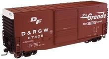 Atlas O DRGW (Rio Grande)  40' Hy-cube box car, 3 rail or 2 rail