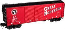 Atlas O GN (red) 1937 style 40' DD steel box car, 3 rail or 2 rail