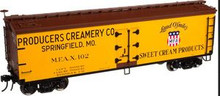 Atlas O Producers Creamery 40' wood reefer, 3 rail or 2 rail