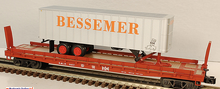 Weaver PDT Exclusive  B&LE  trailer on  flat car, 2 rail or 3 rail