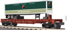 MTH Railking  Flat Car with NP Trailer, 3 rail