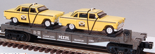MTH Railking Flat Car with Taxi's, 3 rail