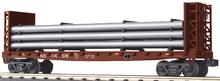 MTH Railking  NS bulkhead flat car with pipe load, 3 rail
