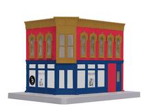MTH 30-90389 O gauge Royal Flush Plumbing Shop 2 story corner building w/blinking sign