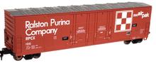 Atlas O Ralston Purina 53' double plug door box car, 3 rail or 2 rail