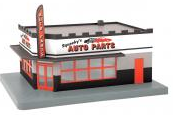 MTH 30-90448 O gauge Squeeky's Auto Parts  1 story corner building w/ blinking sign