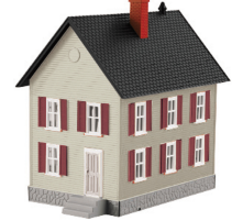 MTH 30-90117 O gauge Row House Gray w/ Red Shutters