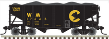 Atlas O Chessie/WM  2 Bay Fishbelly Hopper, 3 rail or 2 rail