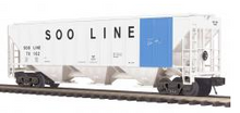 MTH Premier SOO Line (blue stripe) PS-2CD 50' grain covered hopper, 3 rail