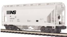 MTH Premier Norfolk Southern 2-Bay Centerflow Covered Hopper, 3 rail