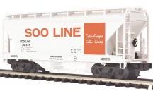 MTH Premier SOO Line 2-Bay Centerflow Covered Hopper, 3 rail
