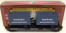MTH Premier Nickel Plate Road Flat Car with (2) 20' Trailers, 3 rail