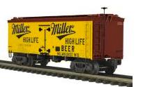 MTH Premier Miller Beer (ylw/black) 36' wood reefer, 3 rail