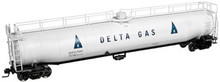 Atlas O Delta Gas  33,000 gal.  tank car, 3 rail