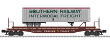 Lionel  Southern  trailer on 50'  TTX wood deck flat car