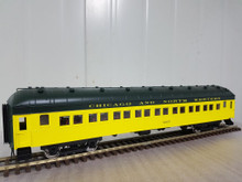 Golden Gate Depot C&NW (yellow/green)  70' harriman style coach car, 2 rail