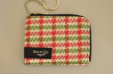 ICE PASS/CARD HOLDER - HOUNDSTOOTH - PINK X GREEN