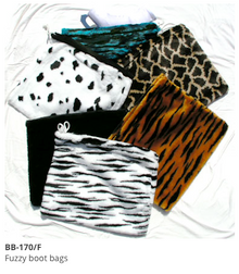 Fuzzy boot bags
