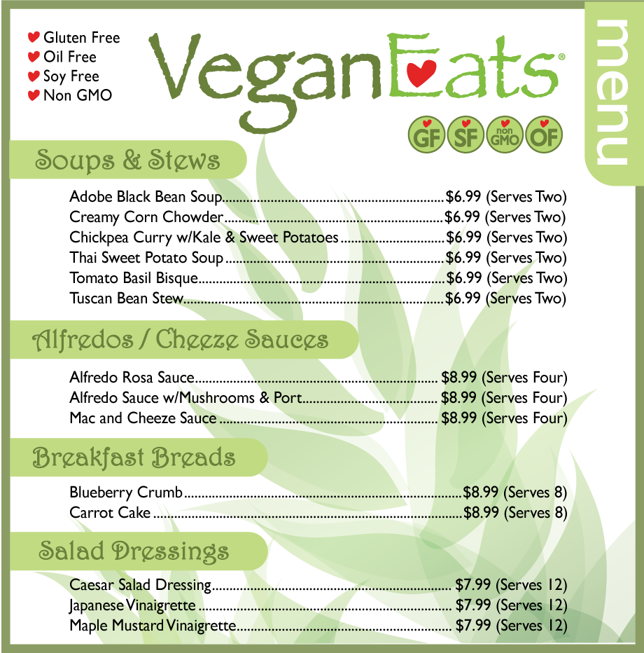Vegan Eats Menu