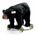 EAN 034428 Steiff mohair Black bear on wheels, black