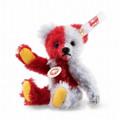 EAN 006791 Steiff mohair mini Harlekin Teddy bear, red/blue